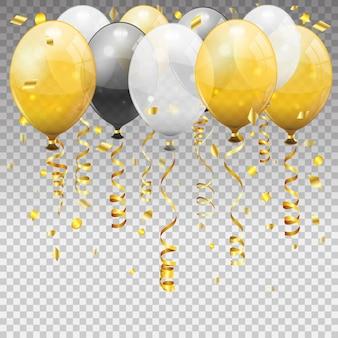 Anniversaire avec des ballons, rubans torsadés banderoles dorées.