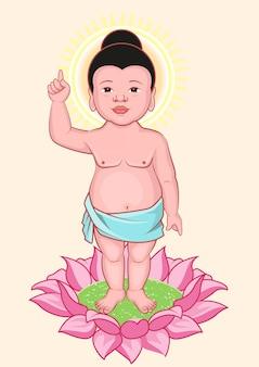 Anniversaire de bouddha. petit bouddha se dresse sur la fleur de lotus