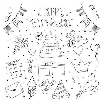 Anniversaire doodle fond joyeux anniversaire élément design avec style doodle