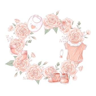 Anniversaire de douche de bébé nouveau-né de couronne de bouquet.