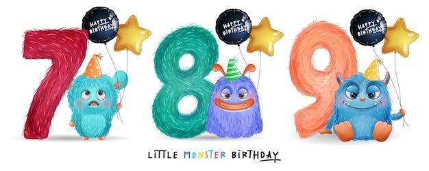 Anniversaire de petit monstre mignon avec illustration aquarelle