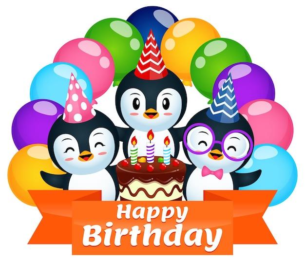 Anniversaire de pingouin mignon avec ballon coloré