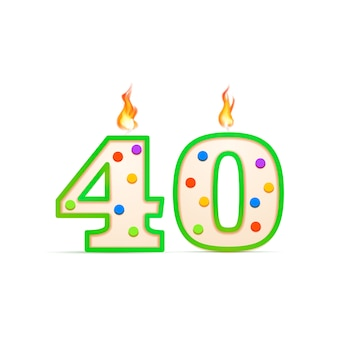 Anniversaire de quarante ans, 40 bougie d'anniversaire en forme de numéro avec feu sur blanc