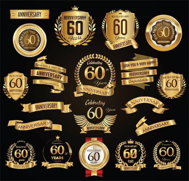 Anniversaire rétro vintage badges et étiquettes