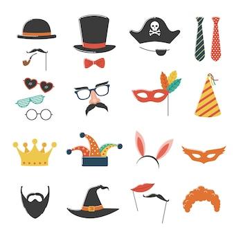 Anniversaire de stand photo et fête avec chapeau, masque, costume, lunettes et barbe