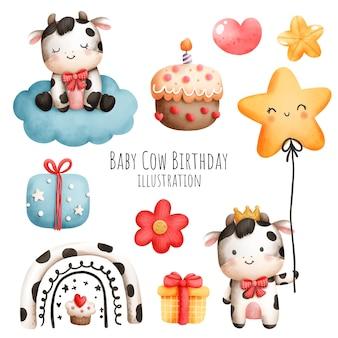 Anniversaire de vache de bébé, élément d'aquarelle de vache de bébé, style papercut.