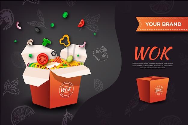 Annonce alimentaire de nouilles wok