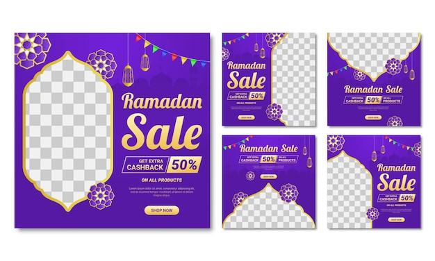 Annonce de bannières de modèle de publication de médias sociaux de vente ramadan.