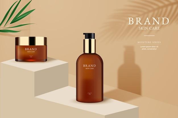 Annonce de bouteille de marque de soins de la peau