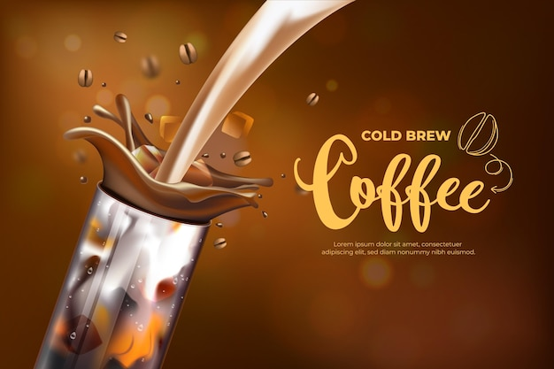 Annonce de café infusé à froid réaliste