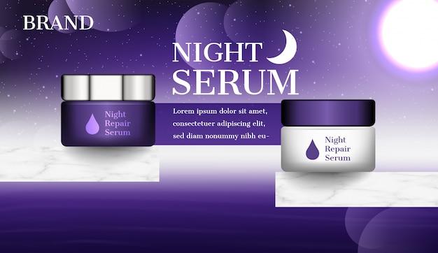 Annonce cosmétique, crème de nuit avec ciel sombre et lune brillante