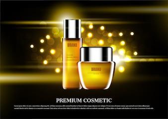Annonce cosmétique premium, sérum doré
