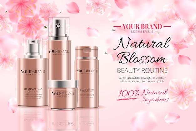 Annonce cosmétique réaliste d'ingrédients naturels