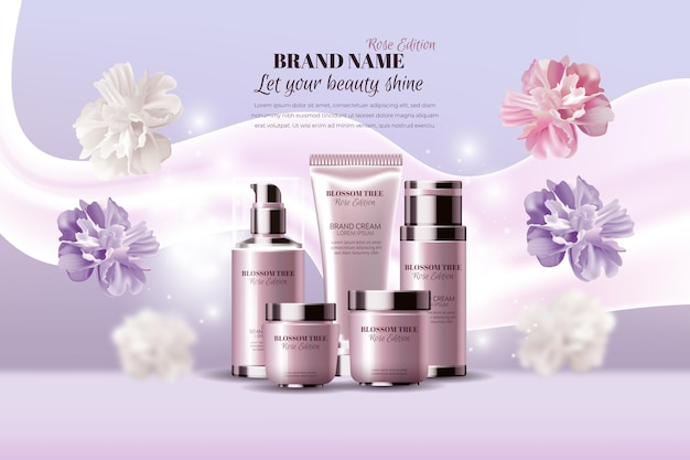 Annonce cosmétique rose réaliste