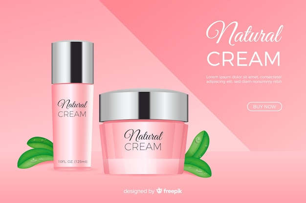 Annonce de crème naturelle dans un style réaliste
