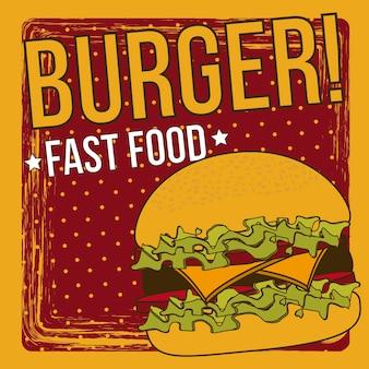Annonce de hamburger sur fond grunge