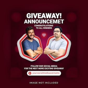 Annonce du gagnant du cadeau d'entreprise publication sur les réseaux sociaux modèle de bannière instagram
