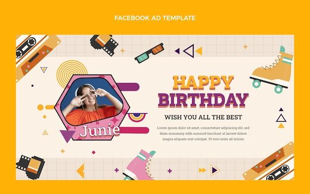 Annonce facebook d'anniversaire nostalgique au design plat des années 90