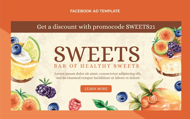 Annonce facebook de nourriture aquarelle