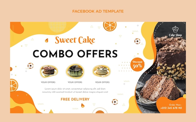 Annonce facebook de nourriture design plat