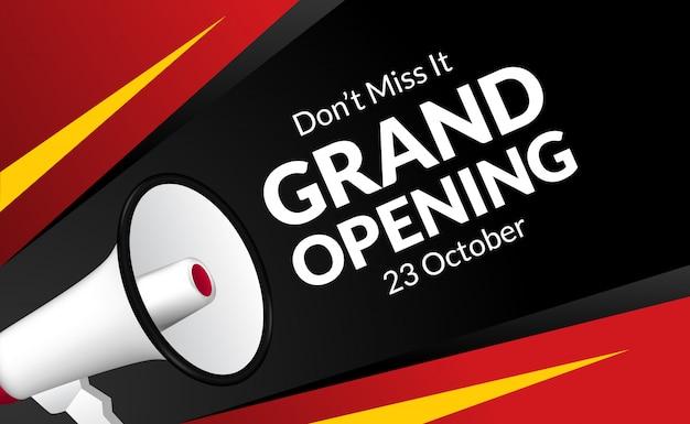Annonce grande ouverture avec haut-parleur mégaphone au coin. modèle de bannière de marketing flayer pour la cérémonie d'ouverture des entreprises.
