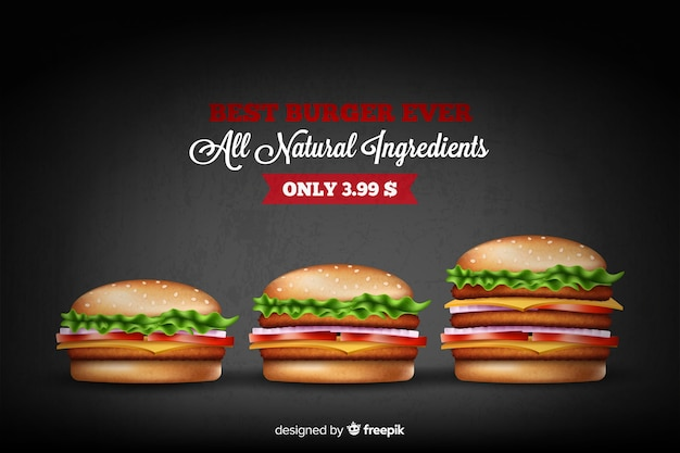 Annonce de hamburger délicieux