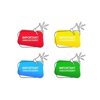 Annonce importante. jeu d'icônes de bulle de dialogue. enseigne publicitaire. vecteur sur fond blanc isolé. eps 10.