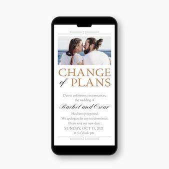 Annonce de mariage reportée sur le concept de format mobile