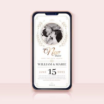 Annonce de mariage reportée - format d'écran pour smartphone