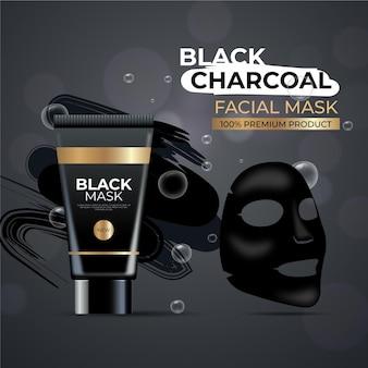 Annonce de masque de feuille de charbon de bois de conception réaliste