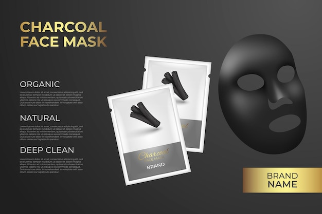 Annonce de masque de feuille de charbon de bois réaliste
