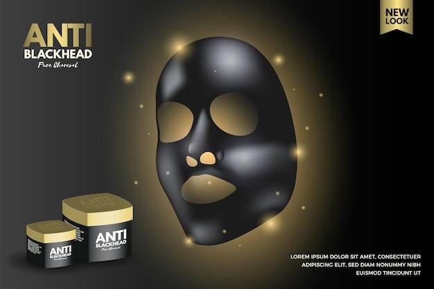 Annonce de masque de feuille de charbon de bois de style réaliste