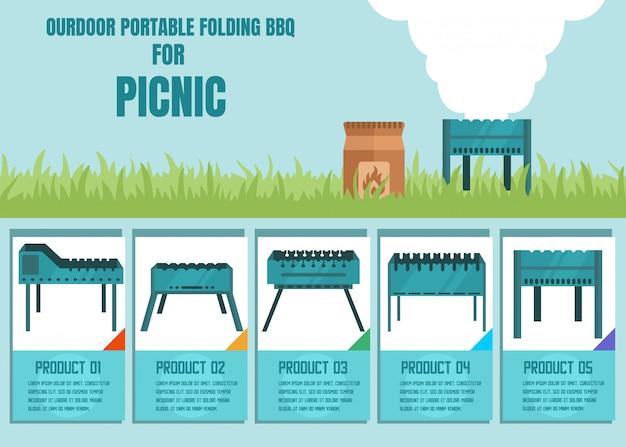 Annonce d'une offre de magasin en ligne pour barbecue pliant portable