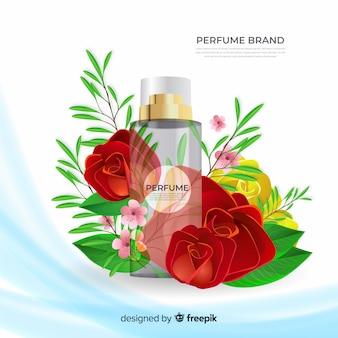 Annonce de parfum réaliste avec des fleurs