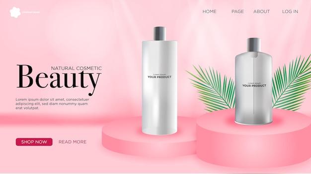 Annonce réaliste avec page de destination du produit pour une entreprise de cosmétiques