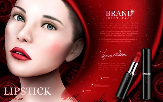Annonce de rouge à lèvres avec visage de modèle et éléments roses, fond rouge