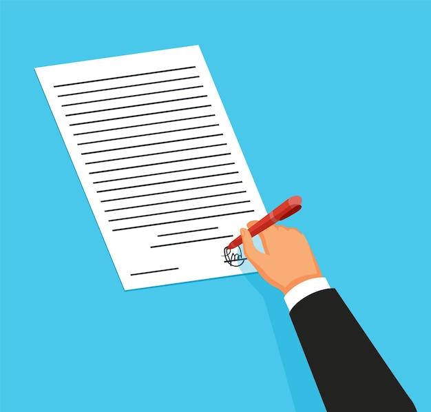 Annonce de service de notaire. document juridique avec la main témoignant des documents juridiques par signature. illustration vectorielle de couleur dans un style plat.