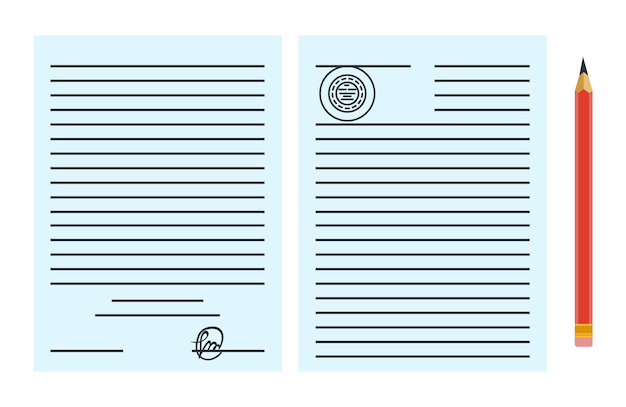 Annonce de service de notaire. document papier légal ou contrat isolé sur fond bleu. illustration vectorielle de couleur dans un style plat.