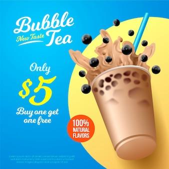 Annonce de thé à bulles de conception réaliste