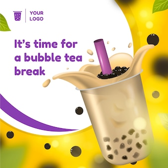 Annonce de thé à bulles réaliste