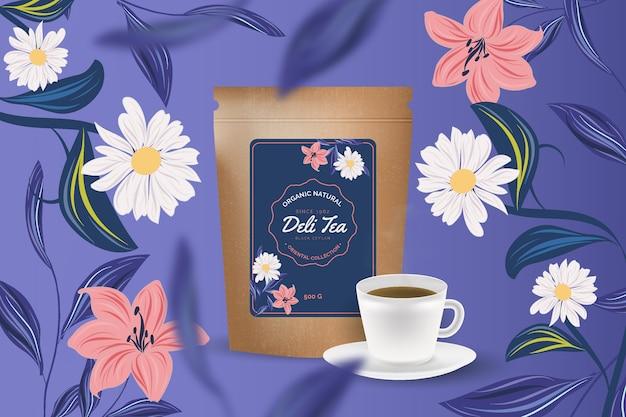 Annonce de thé avec décoration de dessin à la main