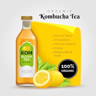 Annonce de thé kombucha réaliste