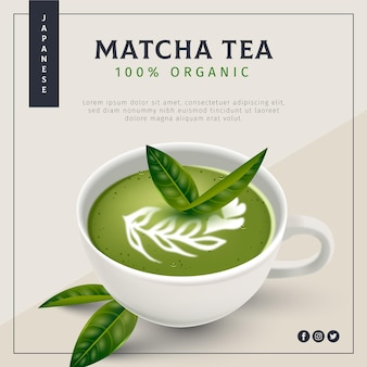 Annonce de thé matcha réaliste