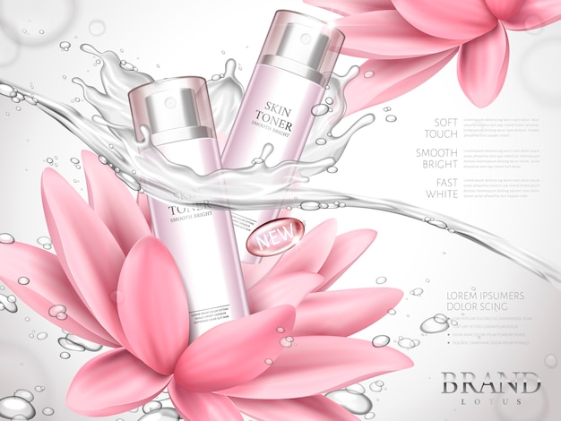 Annonce de toner de peau de lotus contenue dans des bouteilles