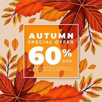 Annonce de vente automne dessiné à la main avec offre spéciale