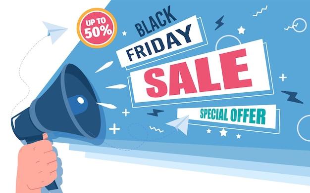 Annonce de vente black friday jusqu'à 50 pour cent d'offre spéciale vecteur