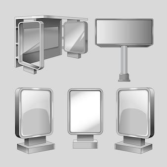 Annoncer l'ensemble de modèles de vecteur de panneaux d'affichage. promotion et affaires, conseil commercial pour illustration marketing