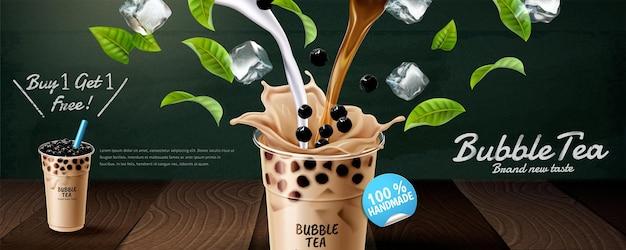 Annonces de bannière de thé à bulles avec du lait versé et des feuilles vertes, illustration 3d