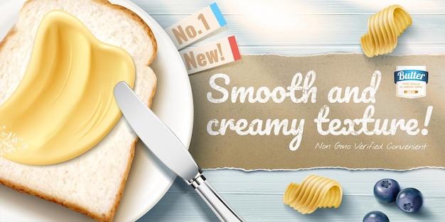 Annonces de beurre crémeux avec de délicieux toasts sur une table en bois bleue en illustration 3d, perspective à plat
