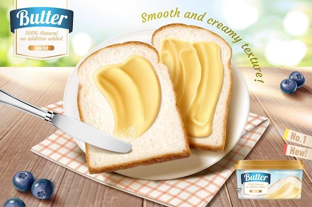 Annonces de beurre lisse sur du pain grillé en illustration 3d, table en bois et arrière-plan nature bokeh